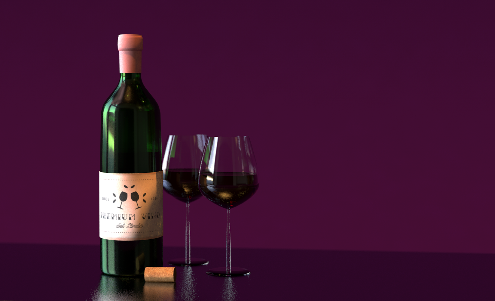 Wine Scene, created using Cinema-4D