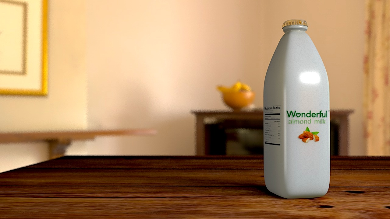 A milk bottle custom made for almond milk by the Wonderful Company, created using Cinema-4D.