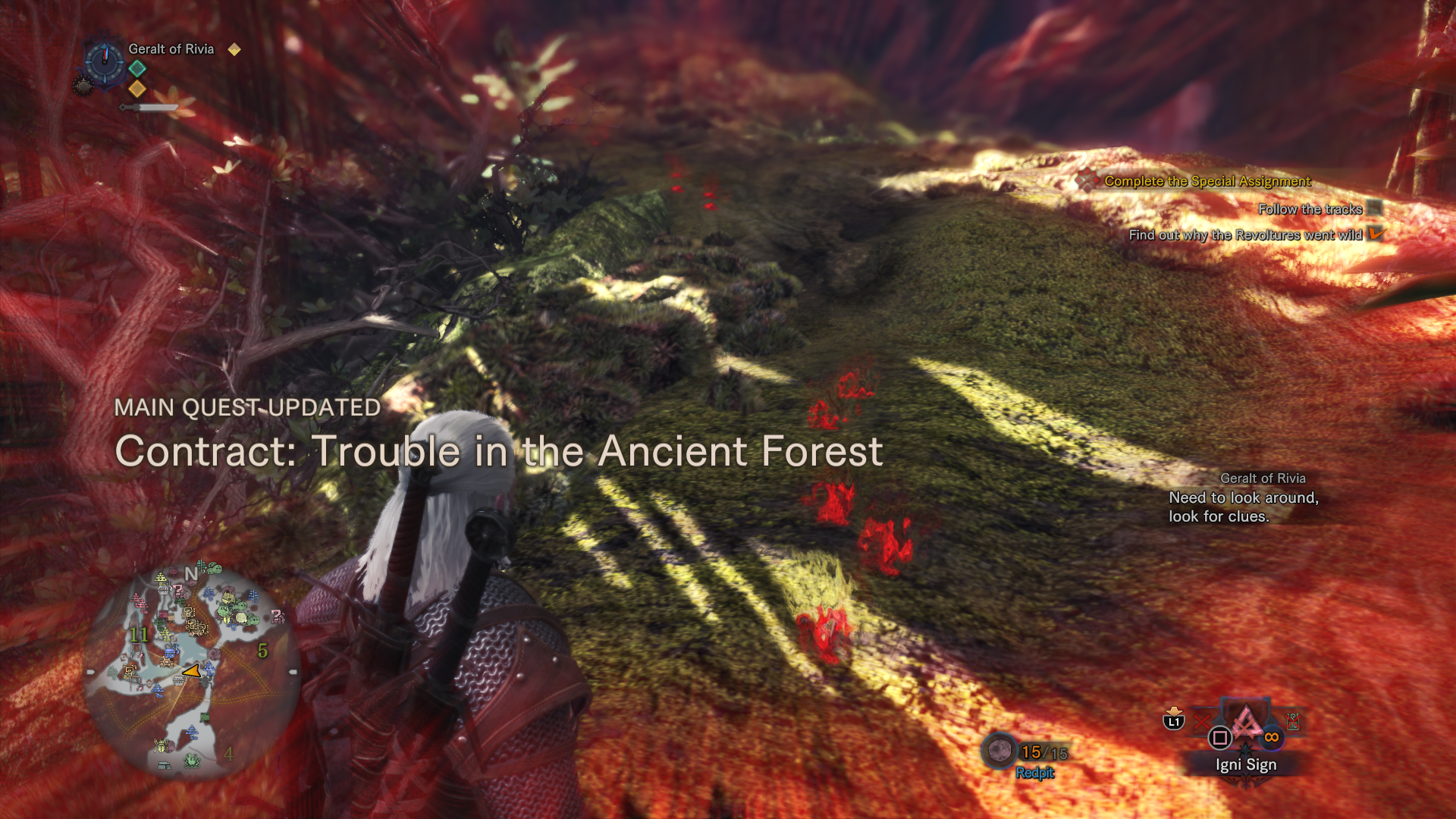 Yup. Witcher sense highlighting things in red, and the  Monster Hunter World  HUD. Delivered as promised.