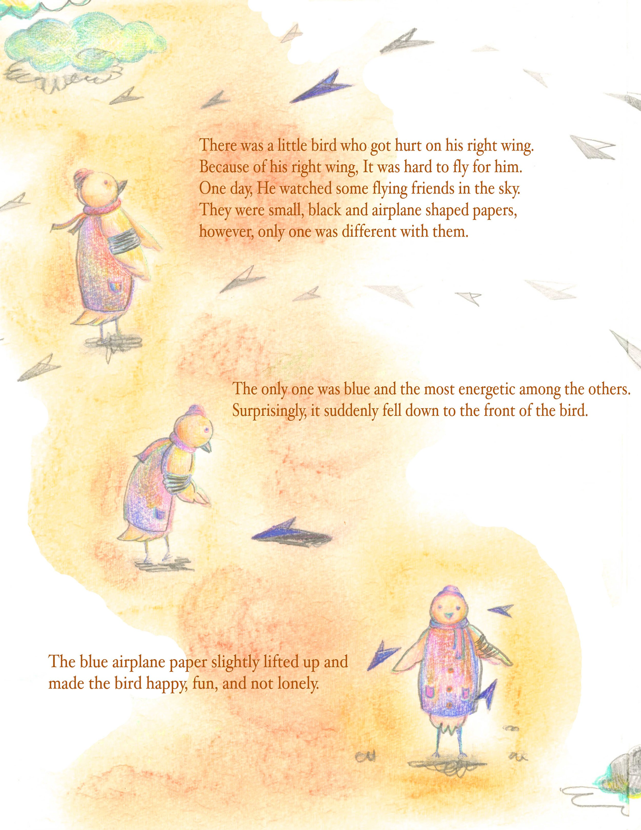 Left page of Page Spread - A Little Bird And A Blue Paper Airplane    Titled/ Written by Priyaa Lee  Illustrated by Priyaa Lee