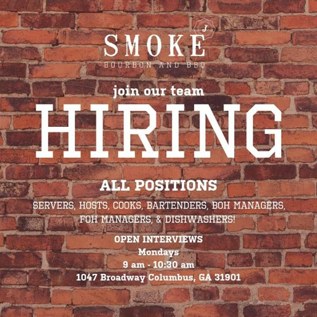 👋 Are you interested in joining our team?! 👏  Come by and say hello on Monday morning for another round of open interviews. If you're hard-working and have experience in the industry, we want to meet you! 🍽 . . . #SmokeBourbonAndBBQ #WeDoAmazingFood #ColumbusGaFood #EatLocal #Hiring #NowHiring #Jobs #OpenInterviews