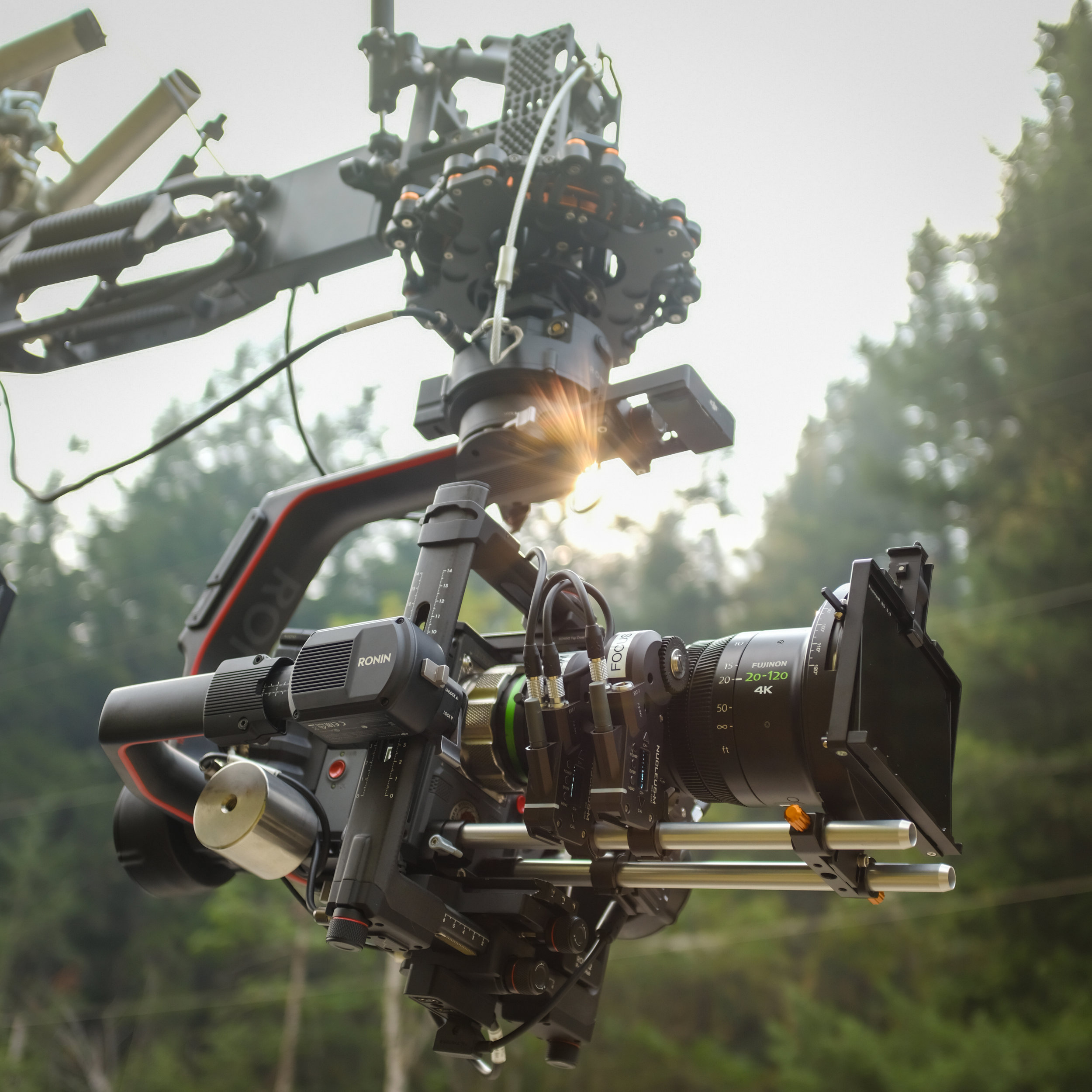 Ronin2 attached to our Black Arm with a Fujinon 20-120 Lens