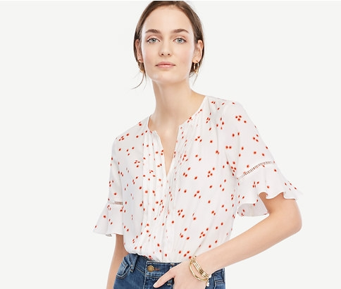 Ann Taylor Floral Pintucked Flutter Sleeve Top
