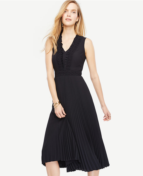 Ann Taylor Lacey Pleated Midi Dress
