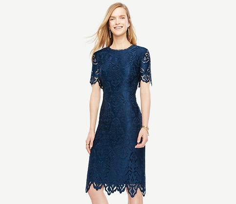 Ann Taylor Botanical Lace Sheath Dress