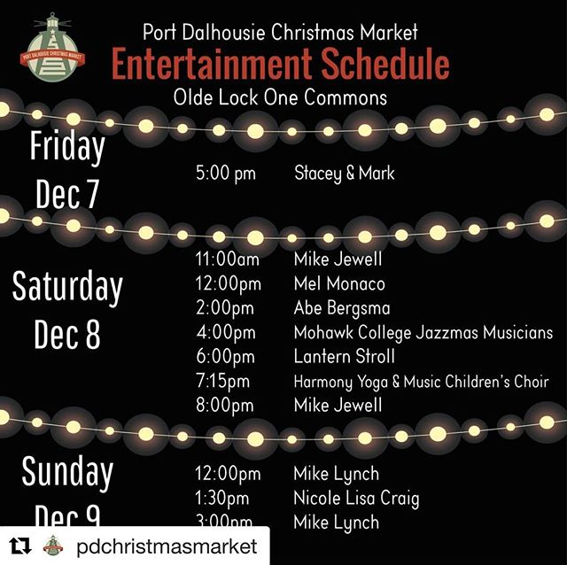 #Repost @pdchristmasmarket with @get_repost ・・・ Join us for live music at the Olde Lock One Commons! 🎶 Our performers will be filling the Port Dalhousie Christmas Market with Christmas Music all weekend long 🎶