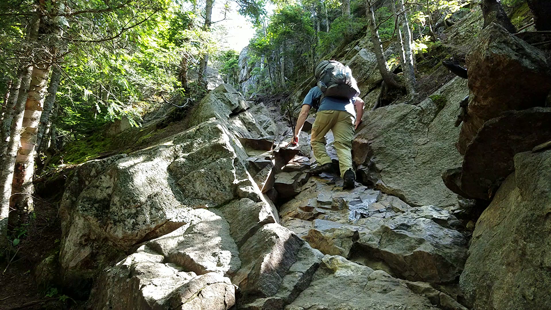climbing rocks on old bridle path trail