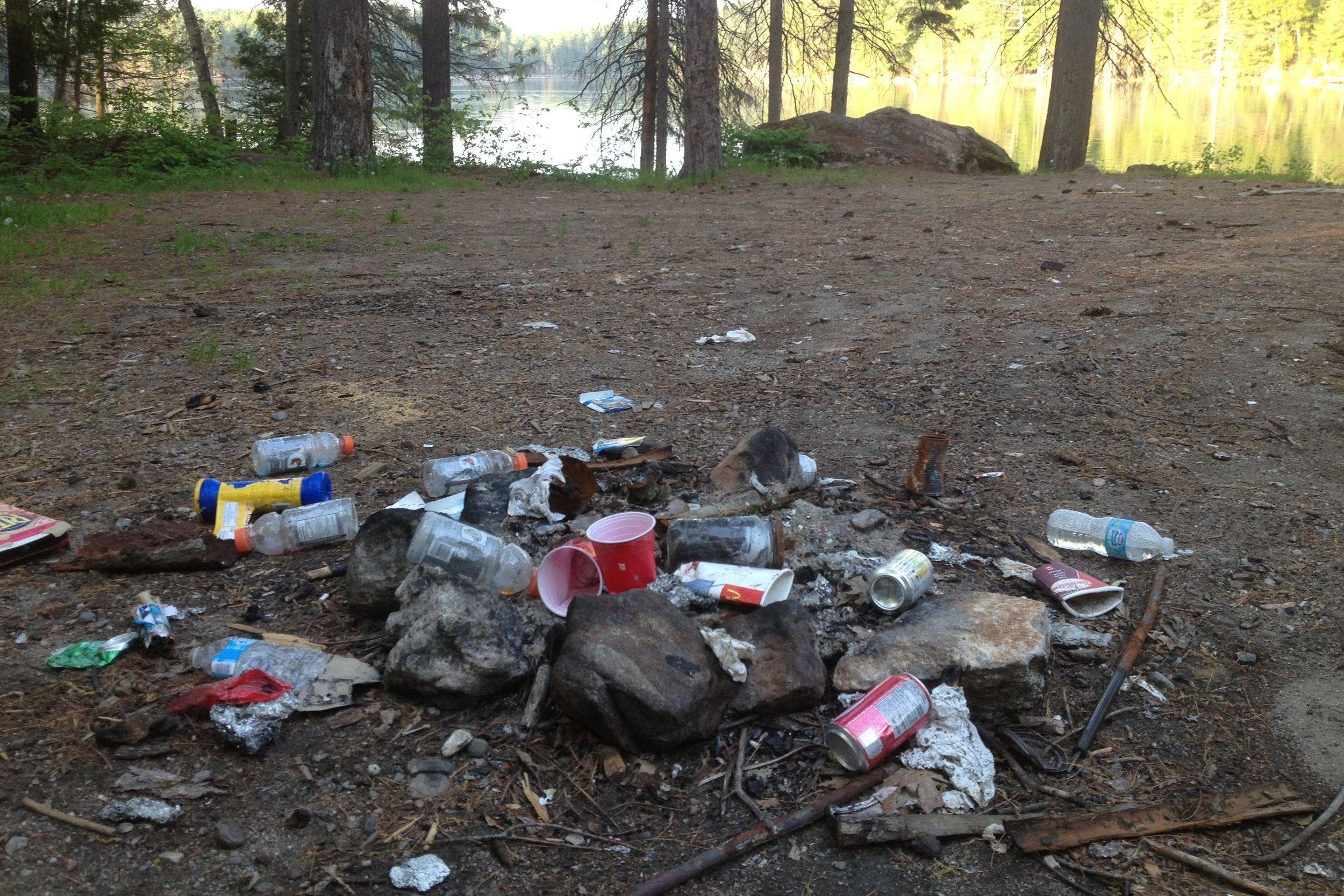 Trash at a camp spot