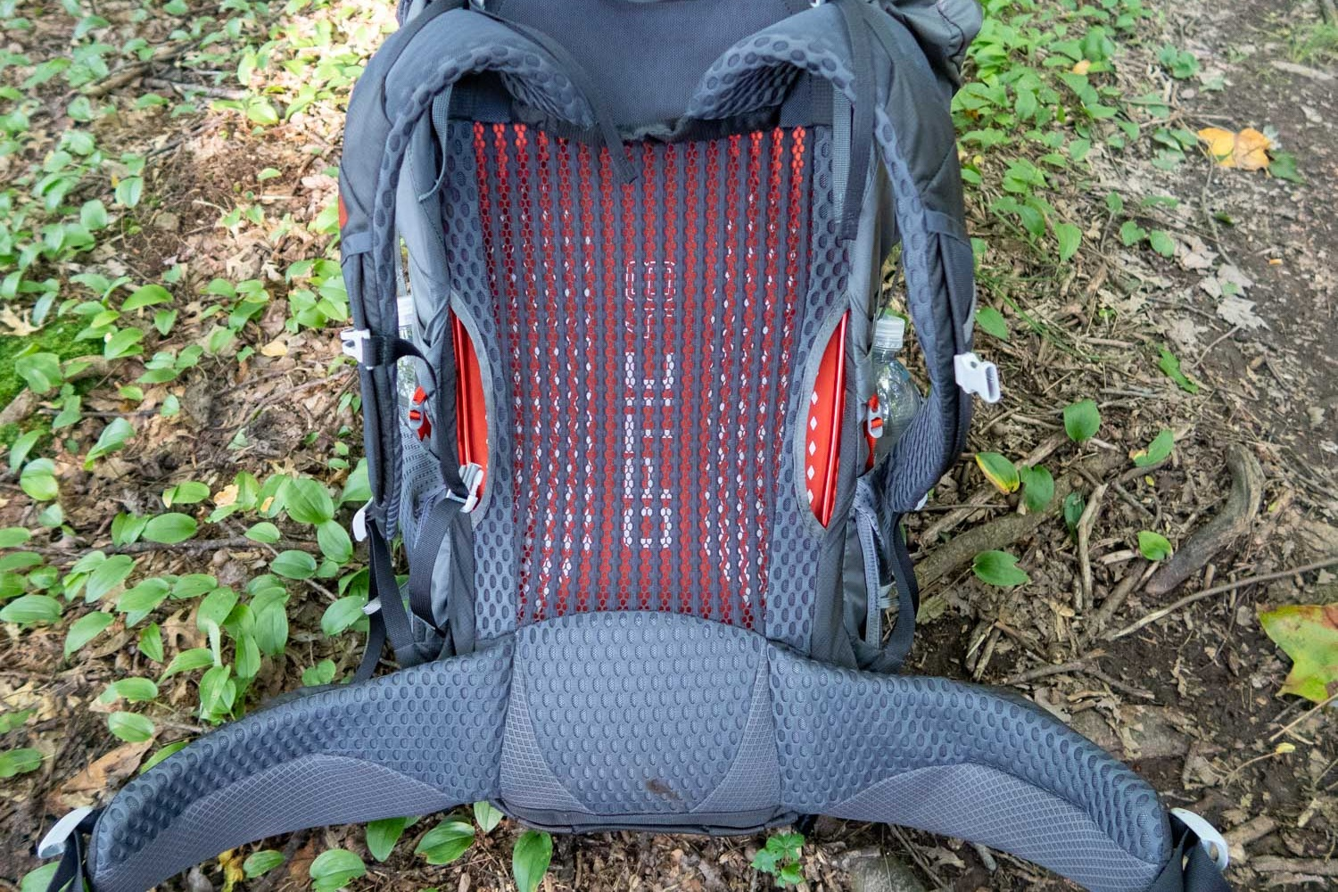 comfortable padding in the lumbar area, hip belt, and shoulder straps