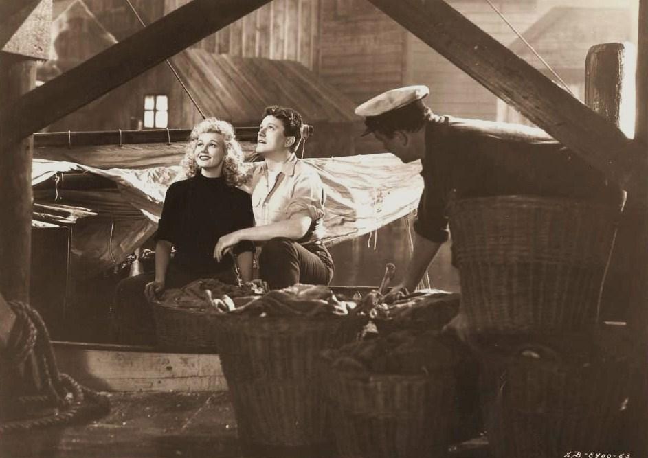 Virginia Mayo and Michael O'Shea on the set of Jack London