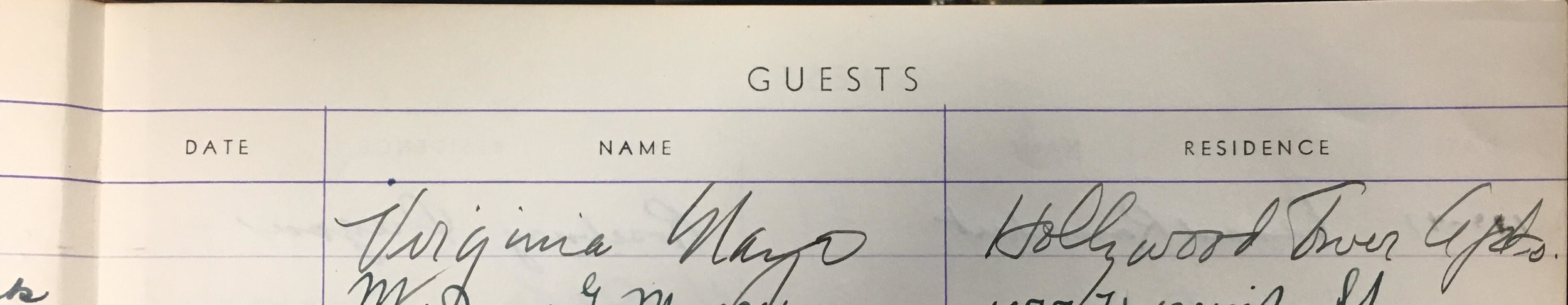 Virginia Mayo's undated signature in Joseff's Guest Book from 1946 (based on surrounding signature dates).