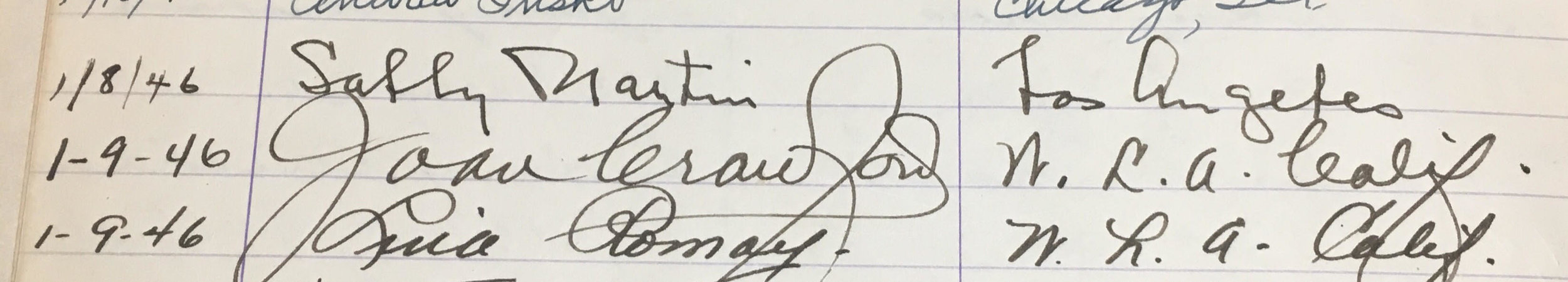 Joan Crawford's signature from Joseff's studio guest book dated January 9, 1946