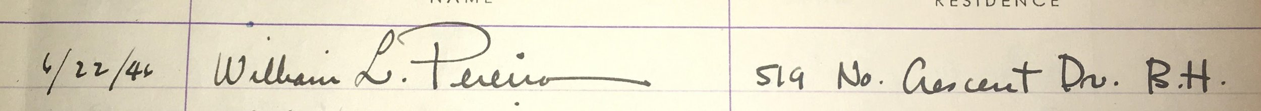 William eonard Pereira's signature dated June 22, 1946, indicating his address as 519 N. Crescent Dr. Beverly Hills, CA
