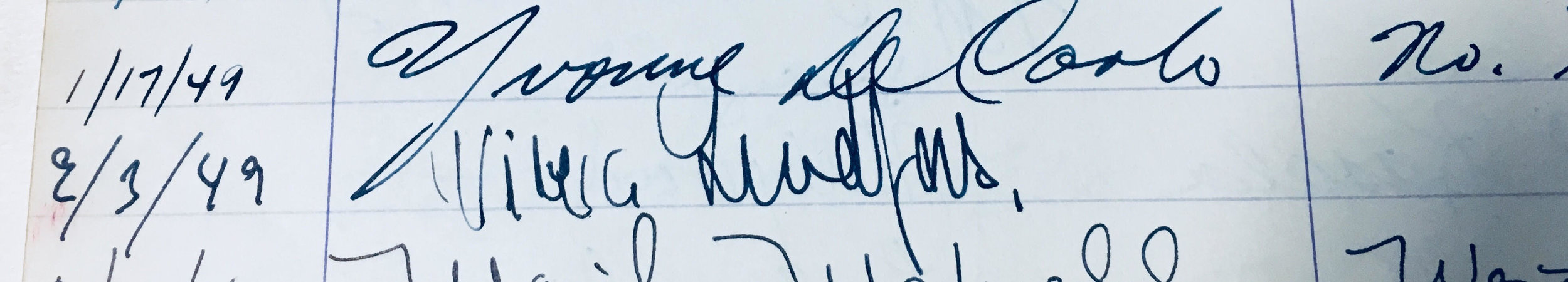Viveca LIndfors' autograph in Joseff's guest book, dated February 3rd, 1949
