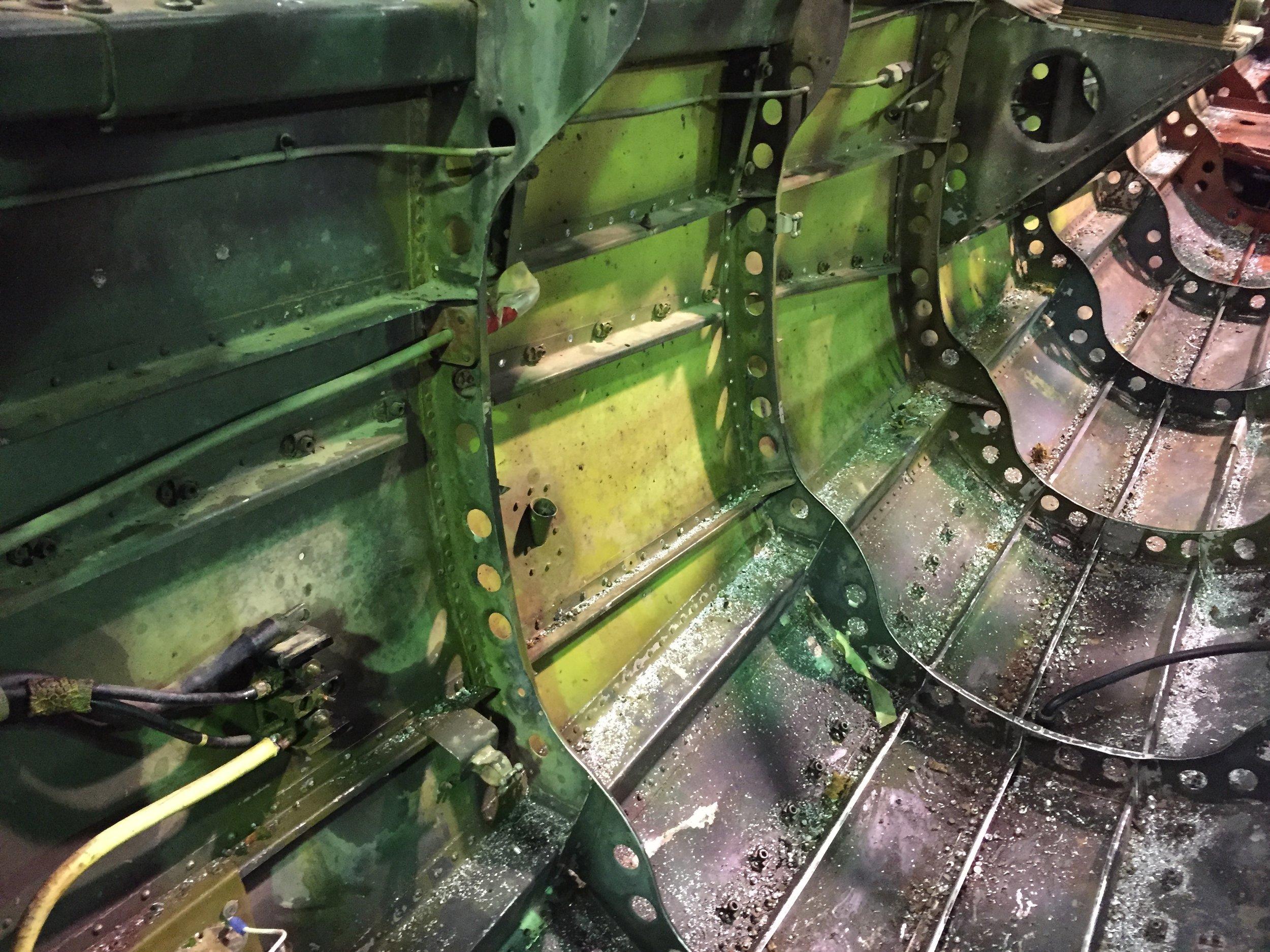 Fuselage interior during de-riveting