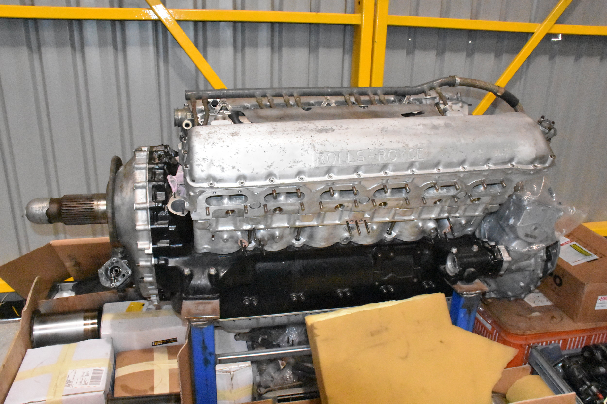 Rolls Royce Merlin beng packed for rebuild in the US