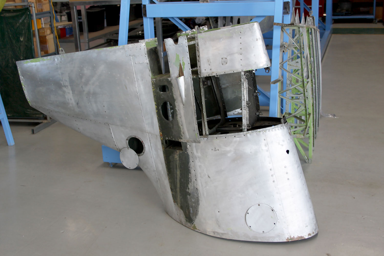 MH415 empenage awaiting rebuild