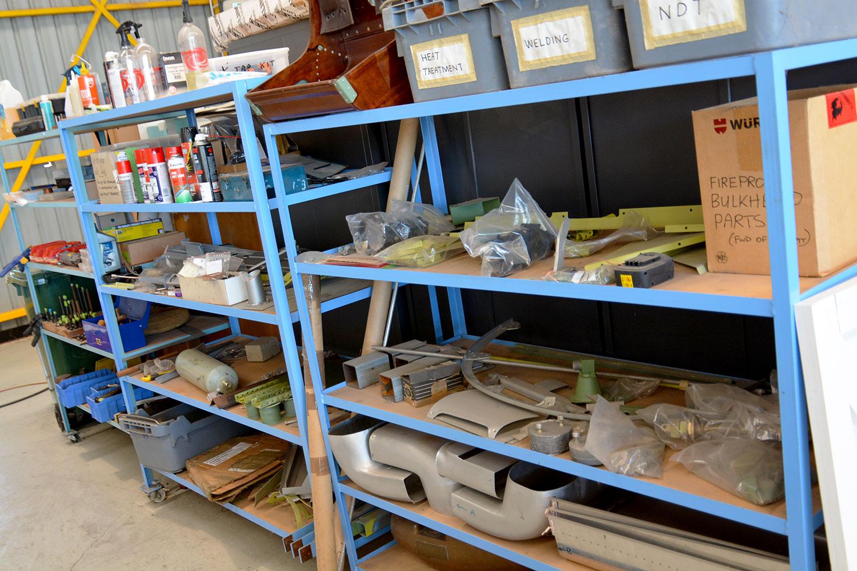 Spitfire components awaiting restoration