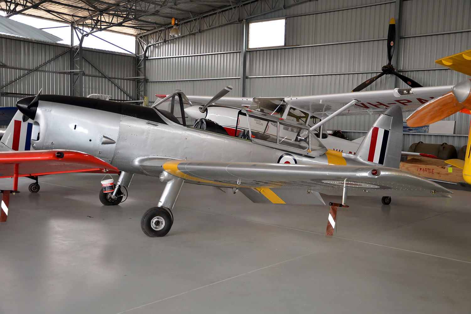 DHC1 Chipmunk VH-AMV in the hangar at Pays Air Services, Scone NSW