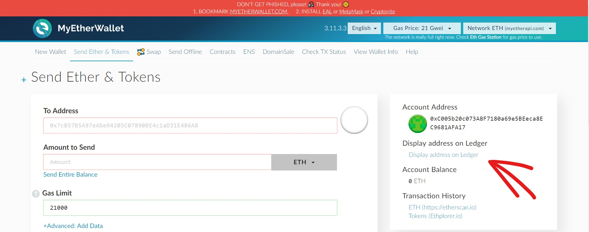Link to check your Ethereum address from MyEtherWallet.com on your Ledger device screen. Use before receiving large amounts of ether or tokens.