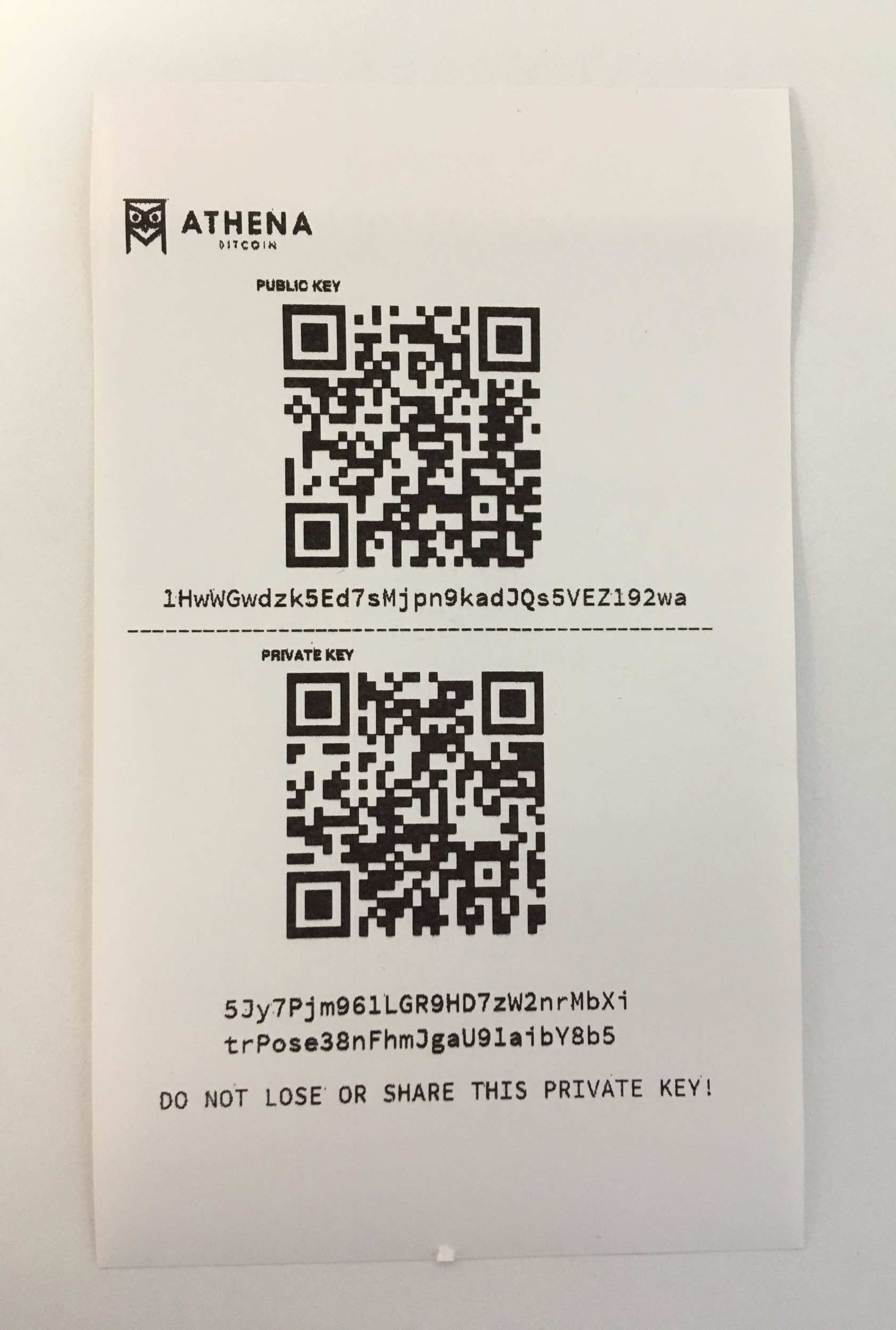 Athena  Bitcoin  Paper Wallet - Note that the public address begins with  1  and the private key begins with  5