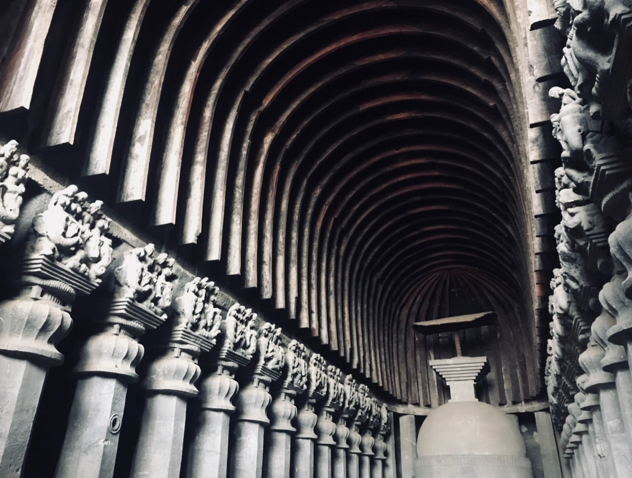 Chaitya caves showcasing buddhist architecture, 2nd Century BC ( India ) — Photographed by Shristi Sainani