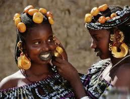 Fulani Girls accessorizing each other.  (Source: https://anth1102pkfgroup4.wordpress.com/religion/ )
