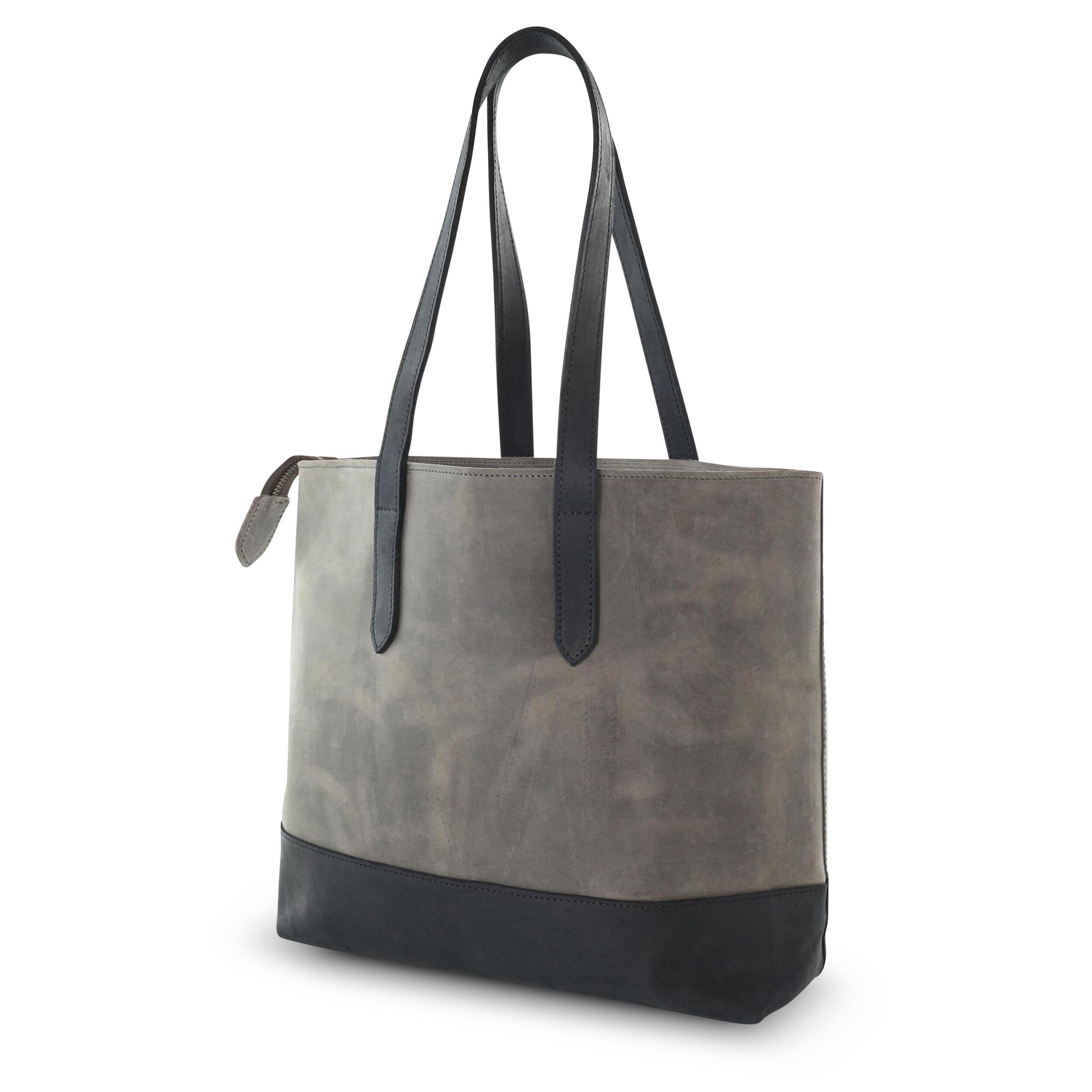 All leather tote handbag