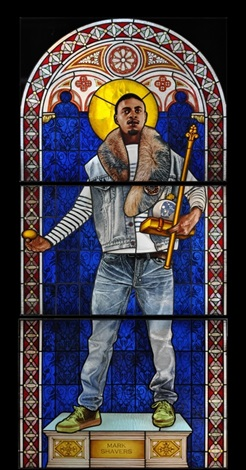 "Kehinde Wiley,  Saint Adelaide , 2014, Stained Glass, 96"" X 43.5"""