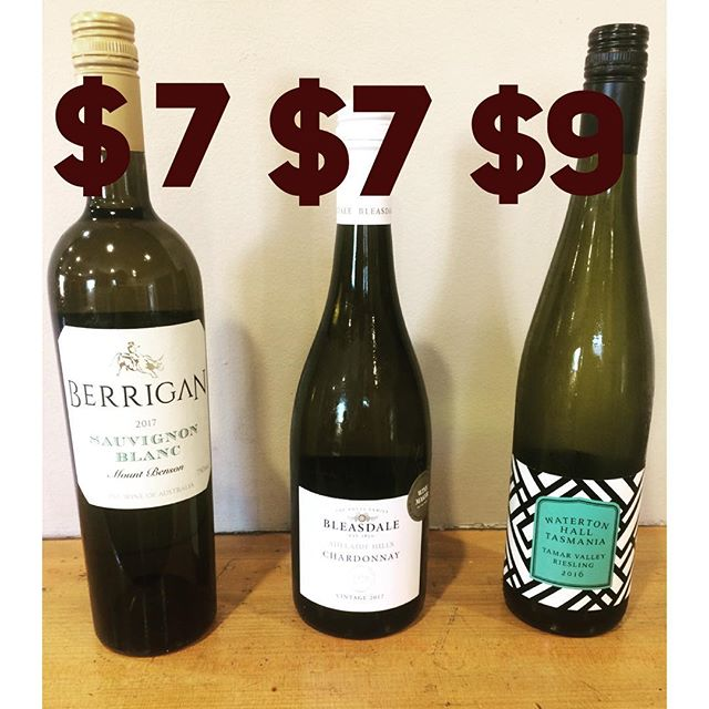 There is nothing better than drink specials . . Berrigan Sauv Blanc $7pg Bleasdale Chardonnay $7pg Waterston Hall Riesling $9pg #sportieslaunceston #launcestonpubs #launcestoneats #wine #winestagram