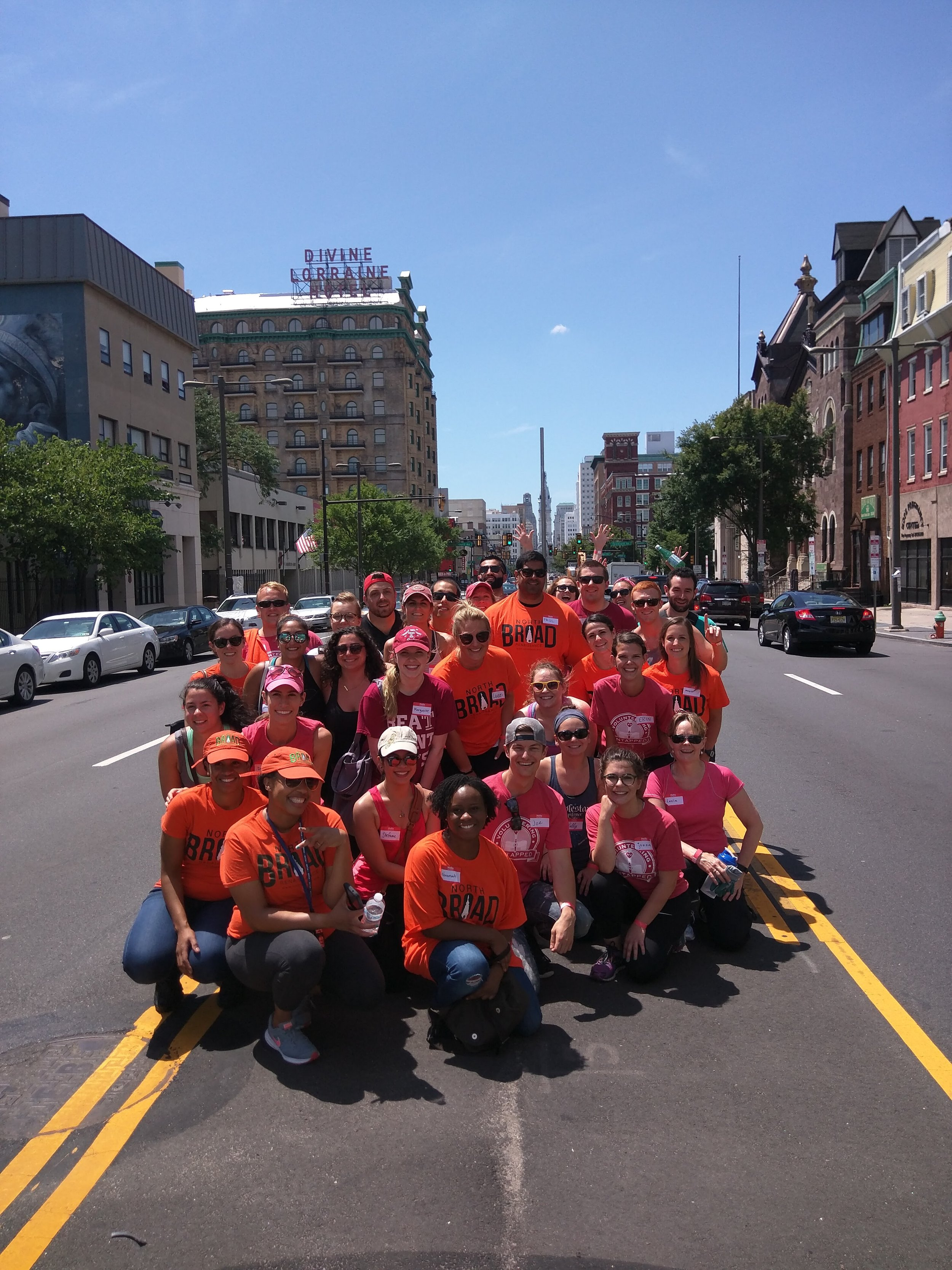 Team North Broad in the middle of North Broad! Please don't tell our insurance company...