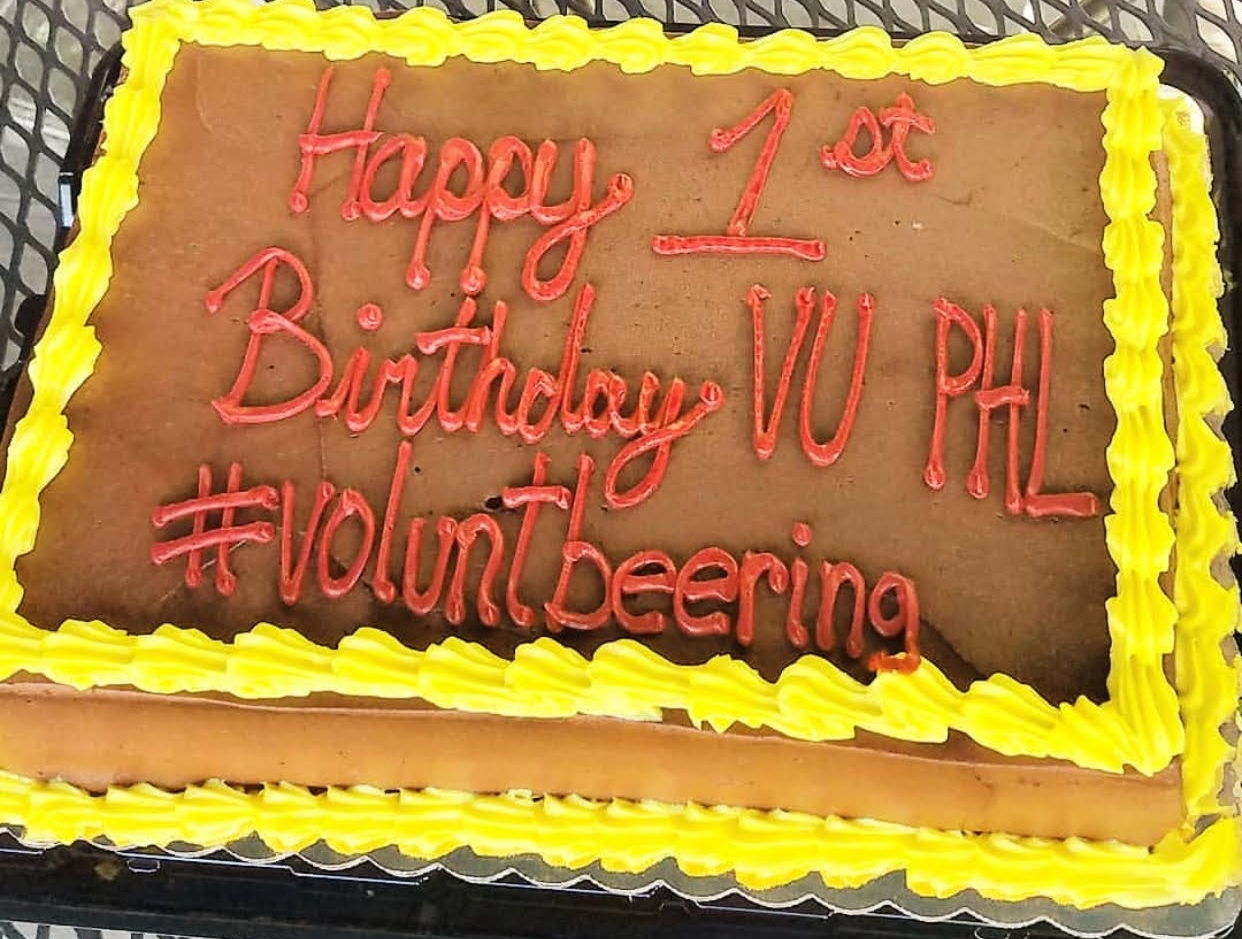 Our first birthday cake! Shared with all of our amazing volunteers