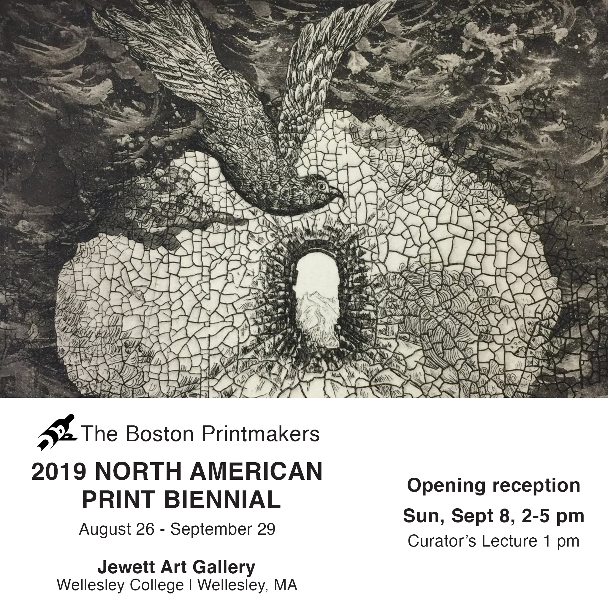 """The Boston Printmakers 2019 North American Print Biennial"" Exhibition at Jewett art gallery, Wellesley College, MA. August 26-Setember 2019."