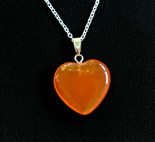 T angerine Quartz heart pendant necklace