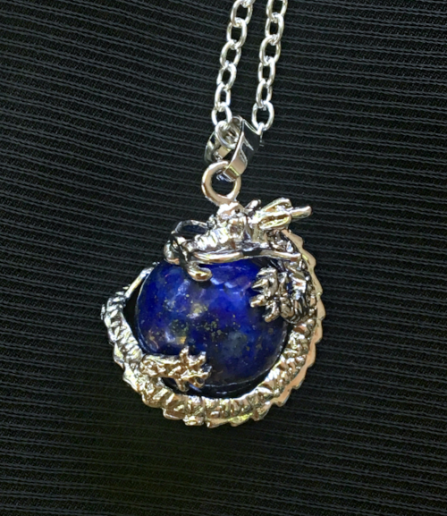 Lapis Lazuli  wrapped pillar pendant