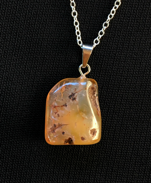 Amber agate natural cut pendant