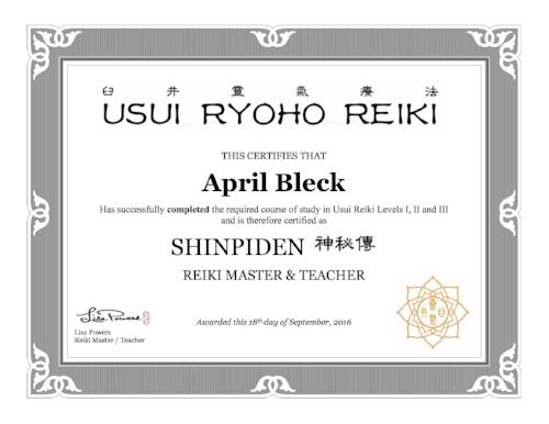 April Bleck Reiki Certificate