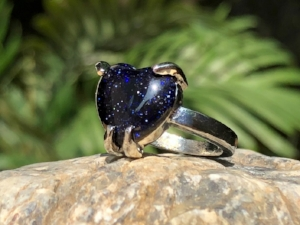 Blue Goldstone  natural cut pendant