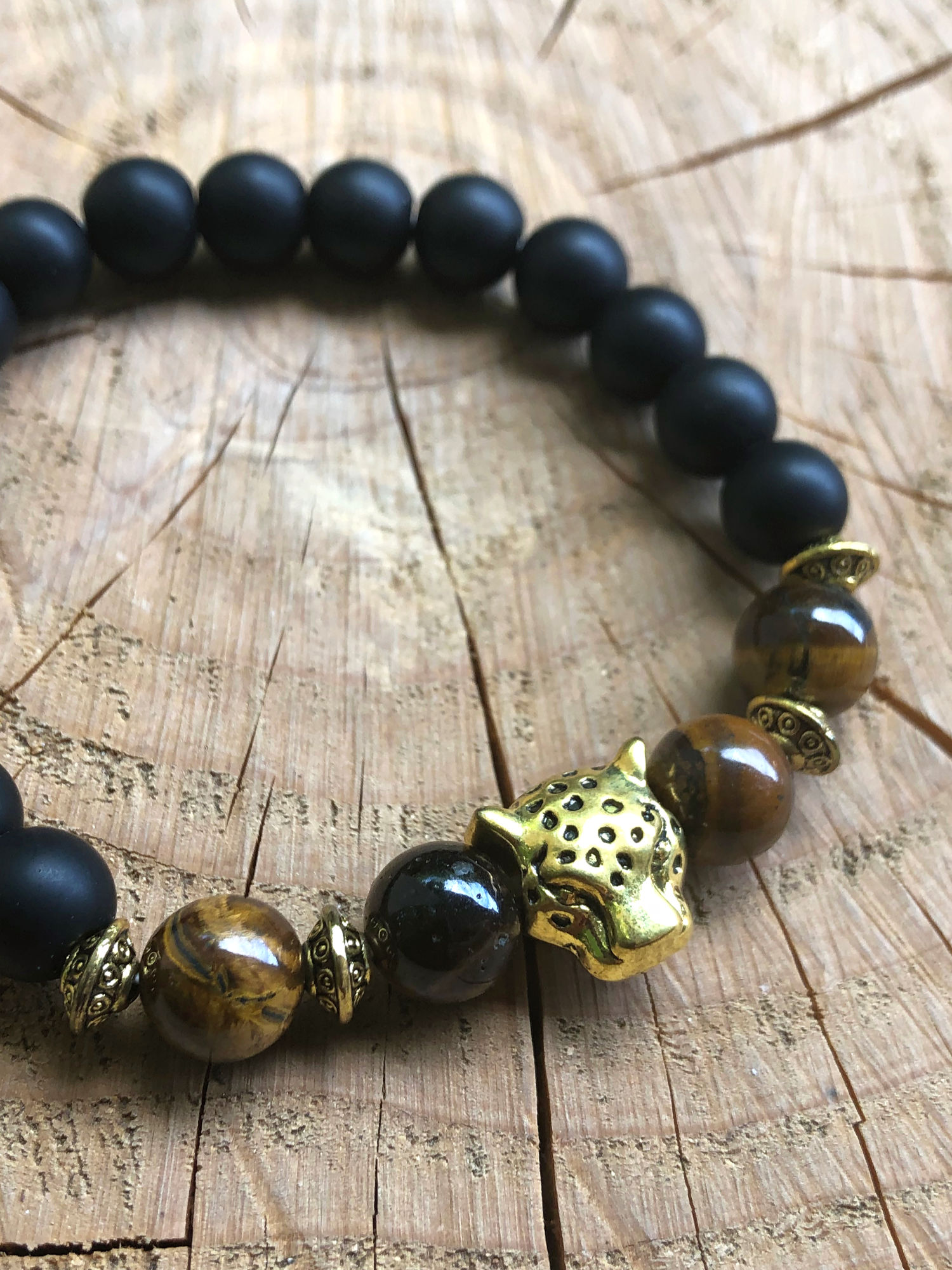 leadership bracelet with lava stone and tiger eye