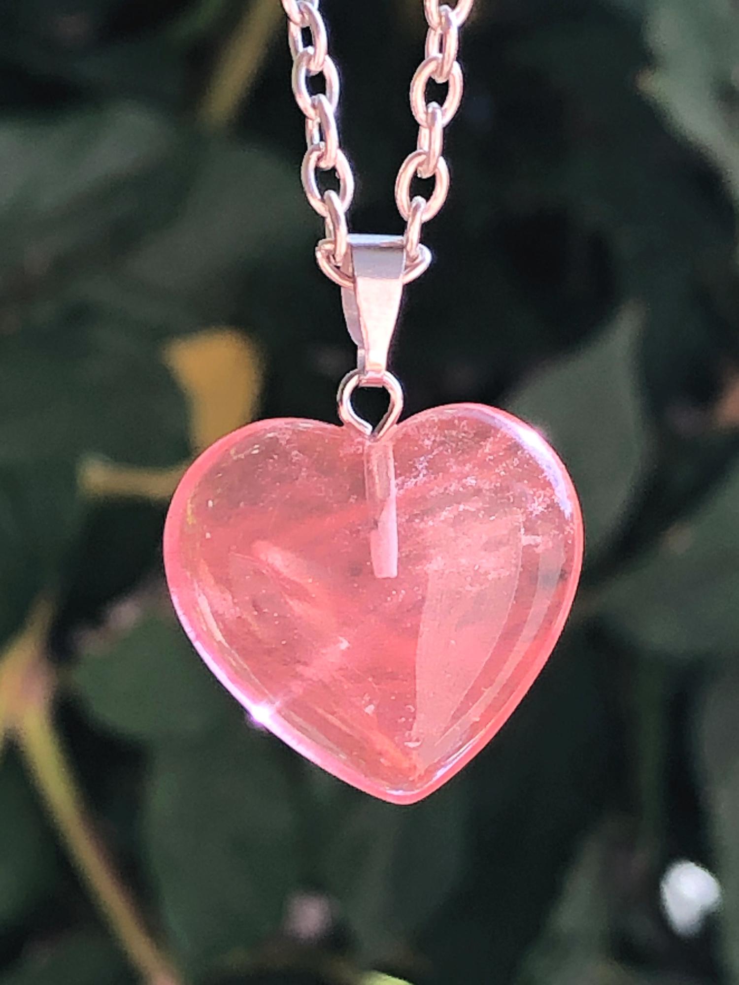 Self Love Necklace Heart Necklace Rose Quartz Heart Necklace Rose Quartz Necklace Gemstone Heart Necklace Crystal Heart Necklace