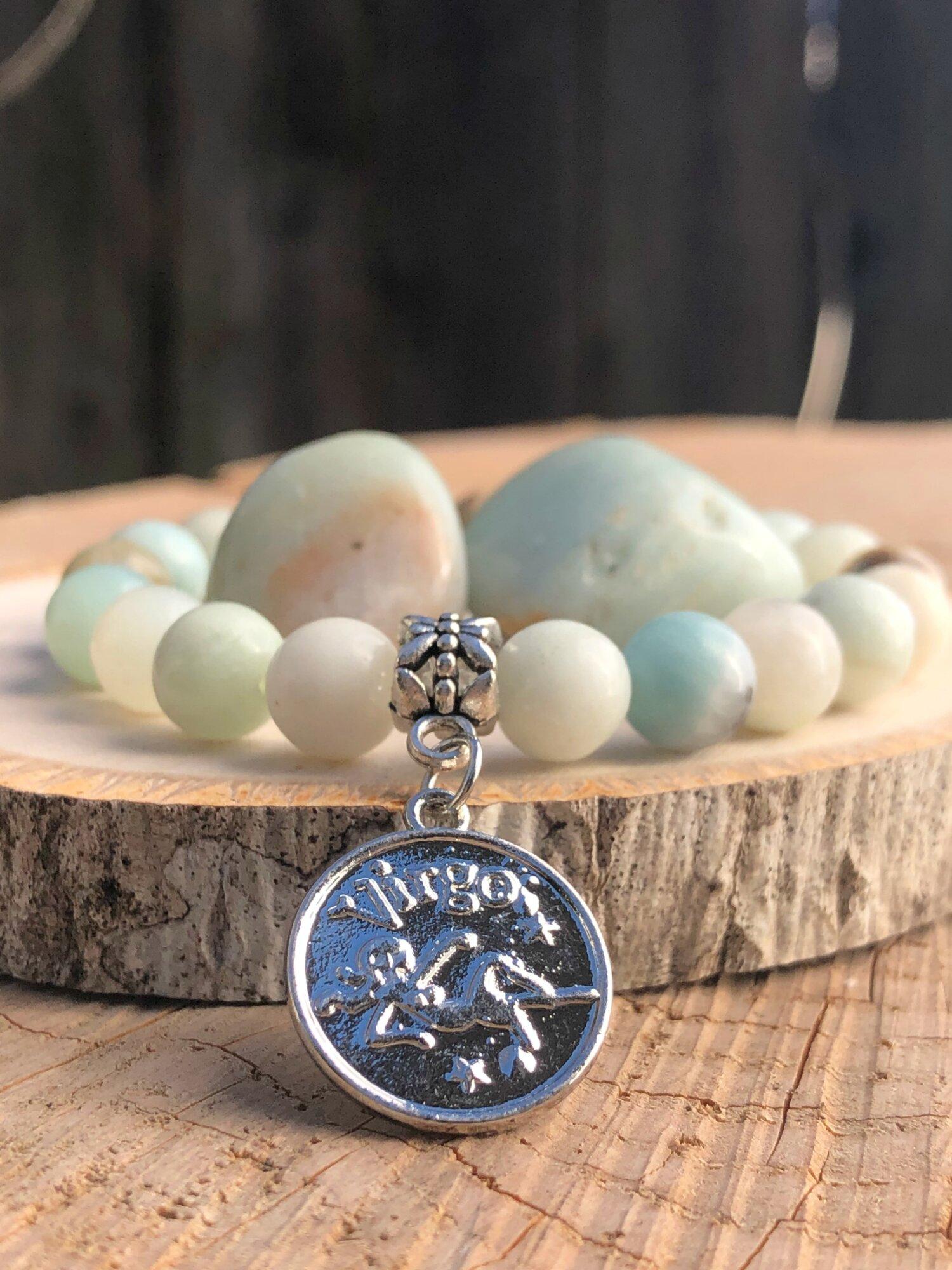 calming throat chakra bracelets aqua gemstone healing crystal yoga bracelet heart Amazonite healing bracelet virgo aquarians zodiac