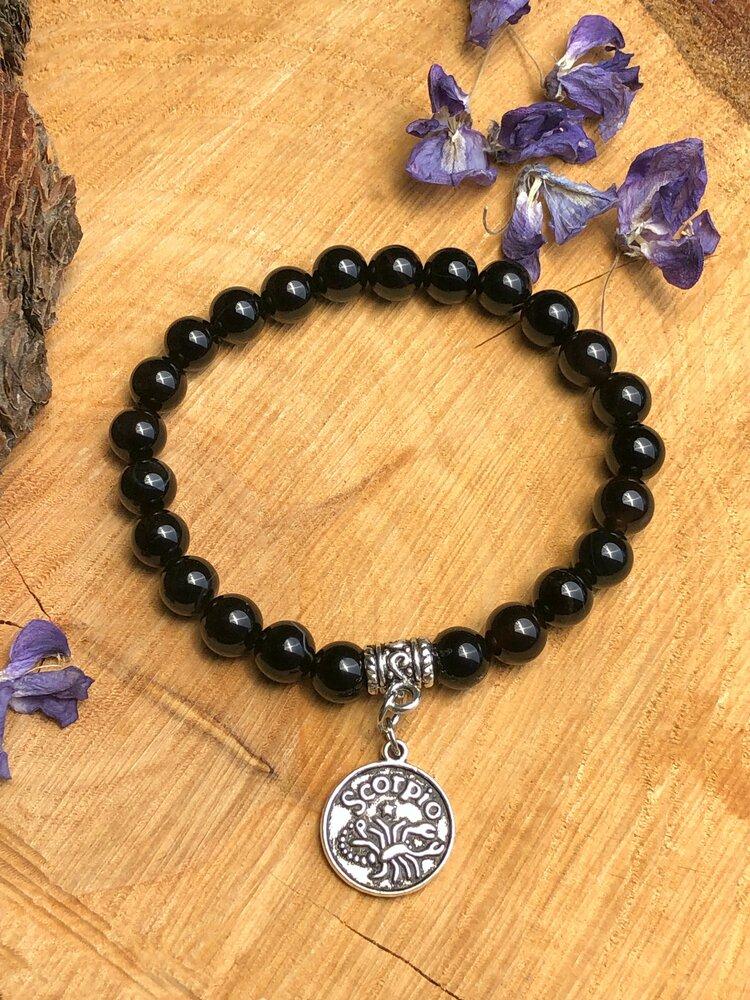 SCORPIO: Snowflake obsidian heart necklace on leather strap  cotton cord