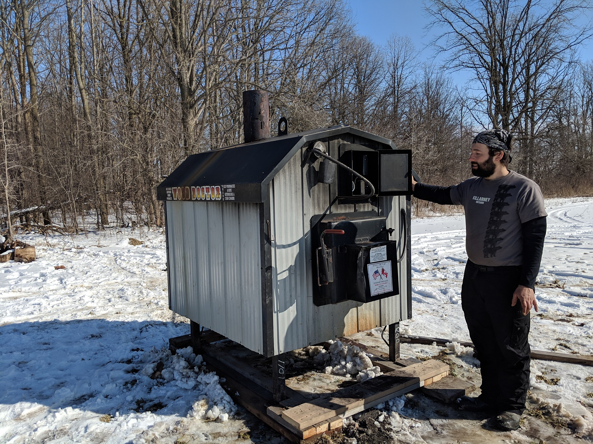 Our outdoor wood furnace. We found it on Kijiji!