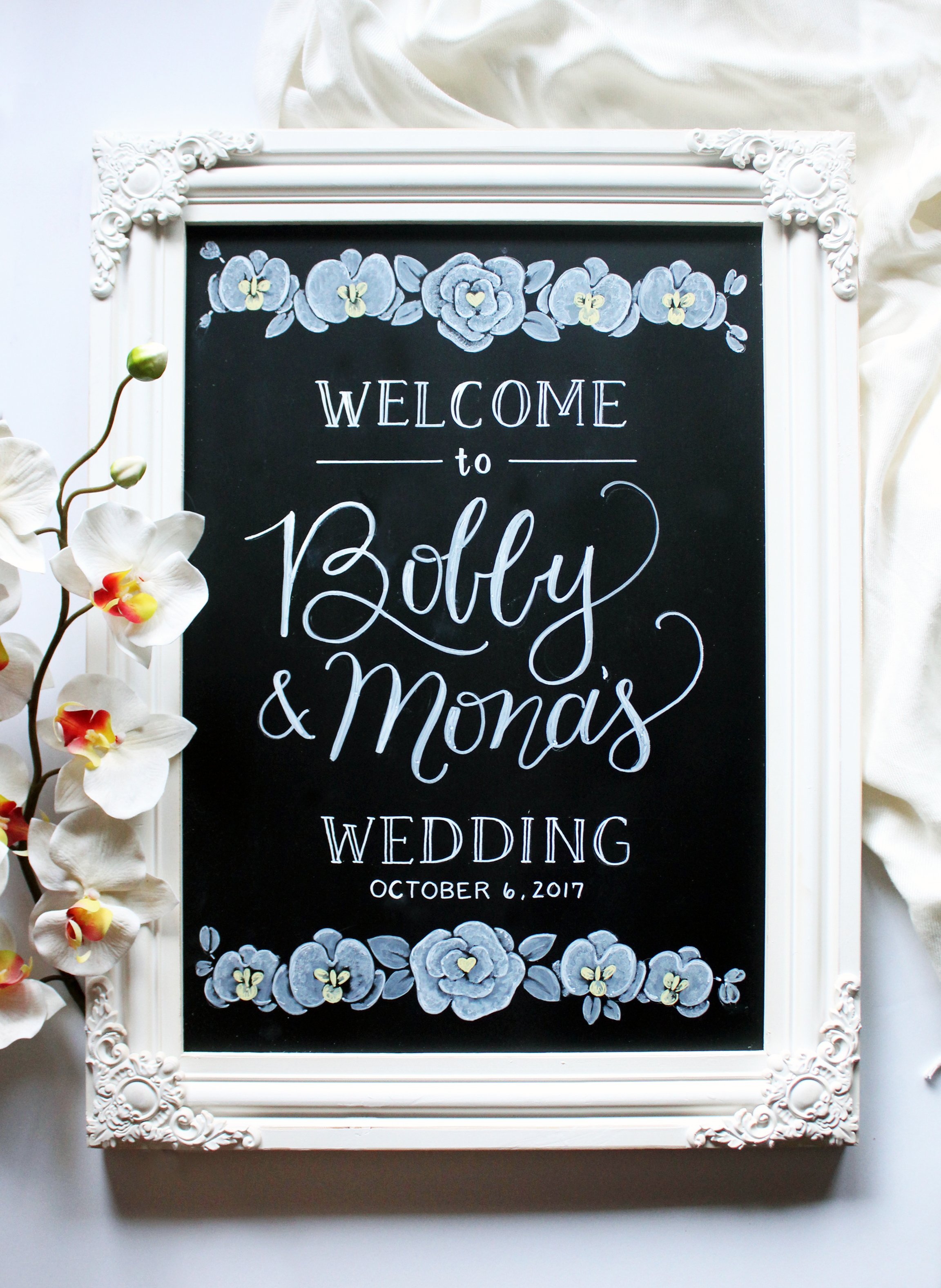 Large Welcome Sign •  We can illustrate any flower requested