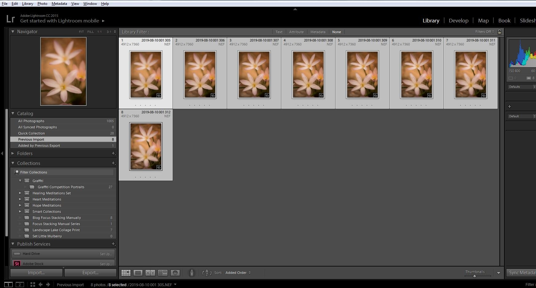 Eight (8) image focus stack series imported into Lightroom CC