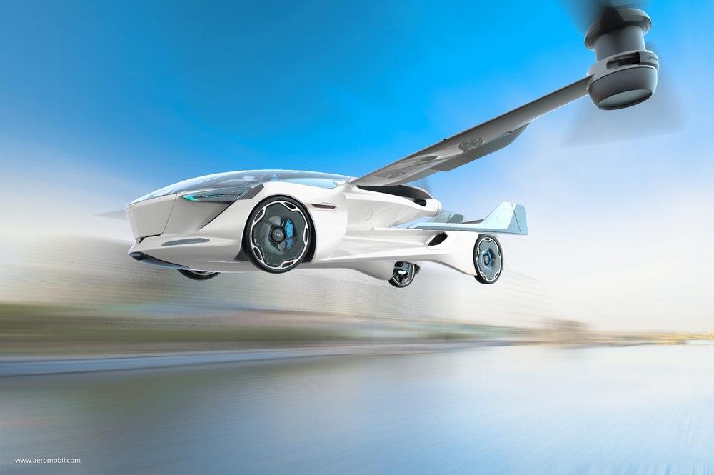 An illustration of the AeroMobil 5.0 VTOL in flight(Credit:AeroMobil)