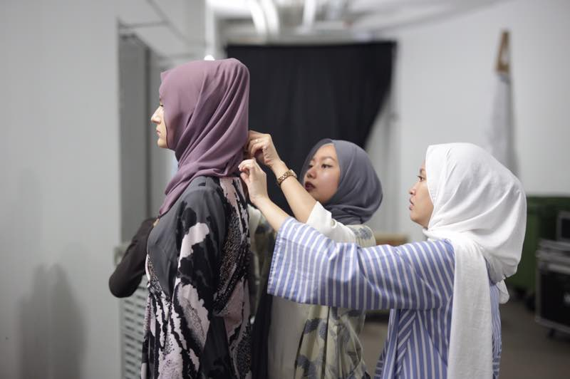 Hijab styling models backstage