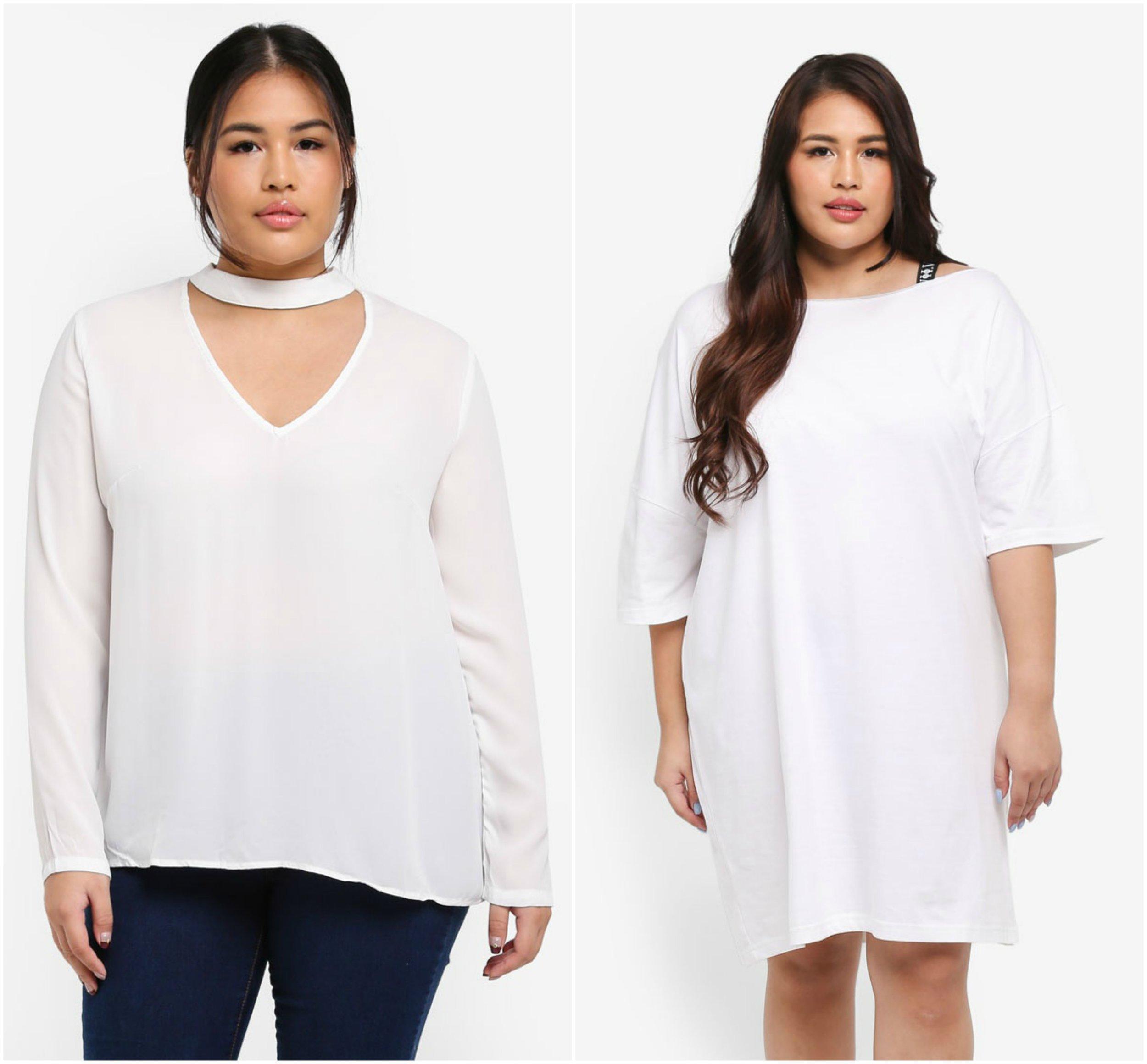 1.  MISSGUIDED Plus Size Choker Blouse  , 2.  MISSGUIDED Plus Size Elastic Trim T-Shirt Dress