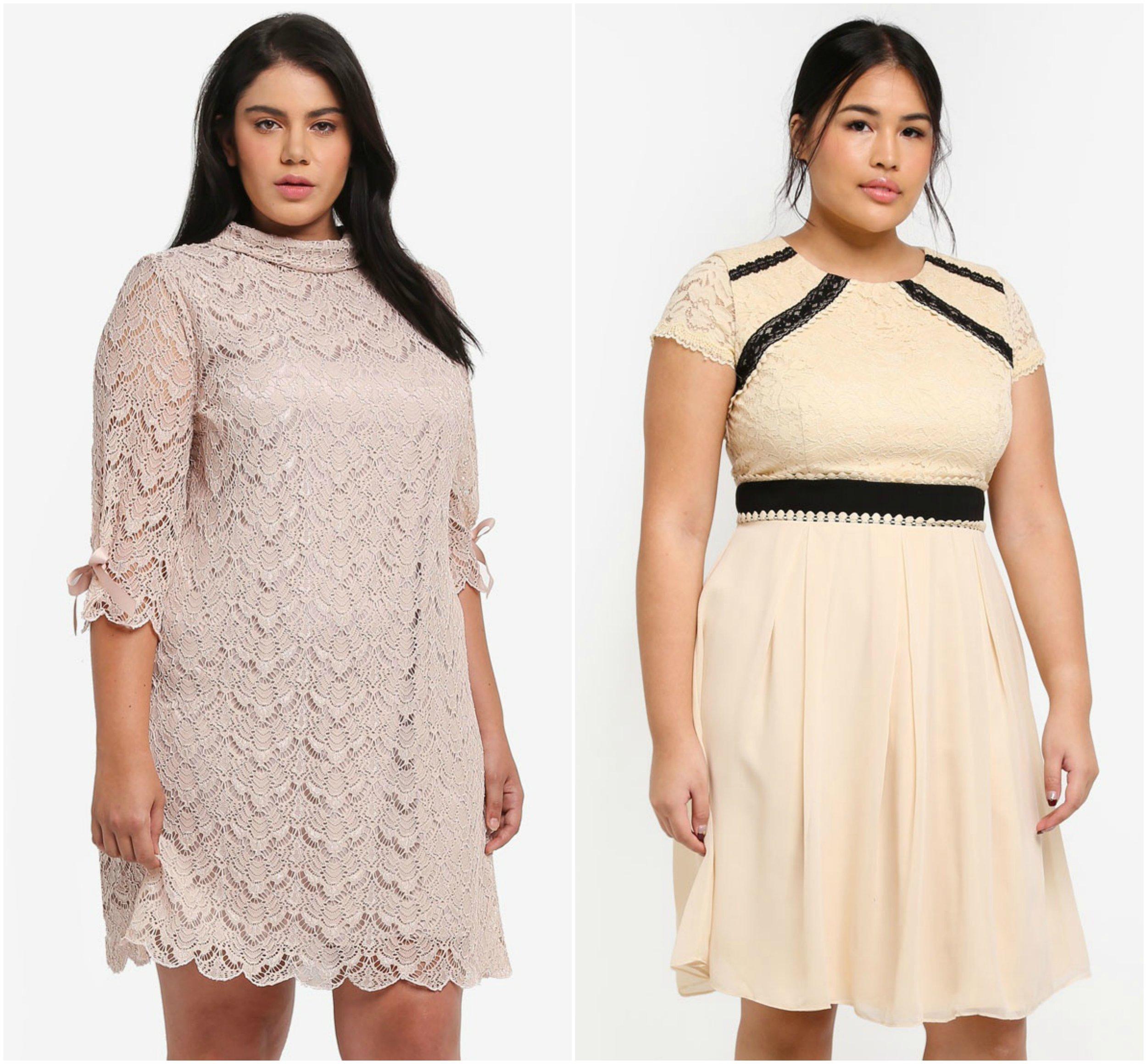 1.  ELVI Plus Size 3/4 Sleeve Lace Dress  , 2.  LITTLE MISTRESS Plus Size Cream Prom Dress