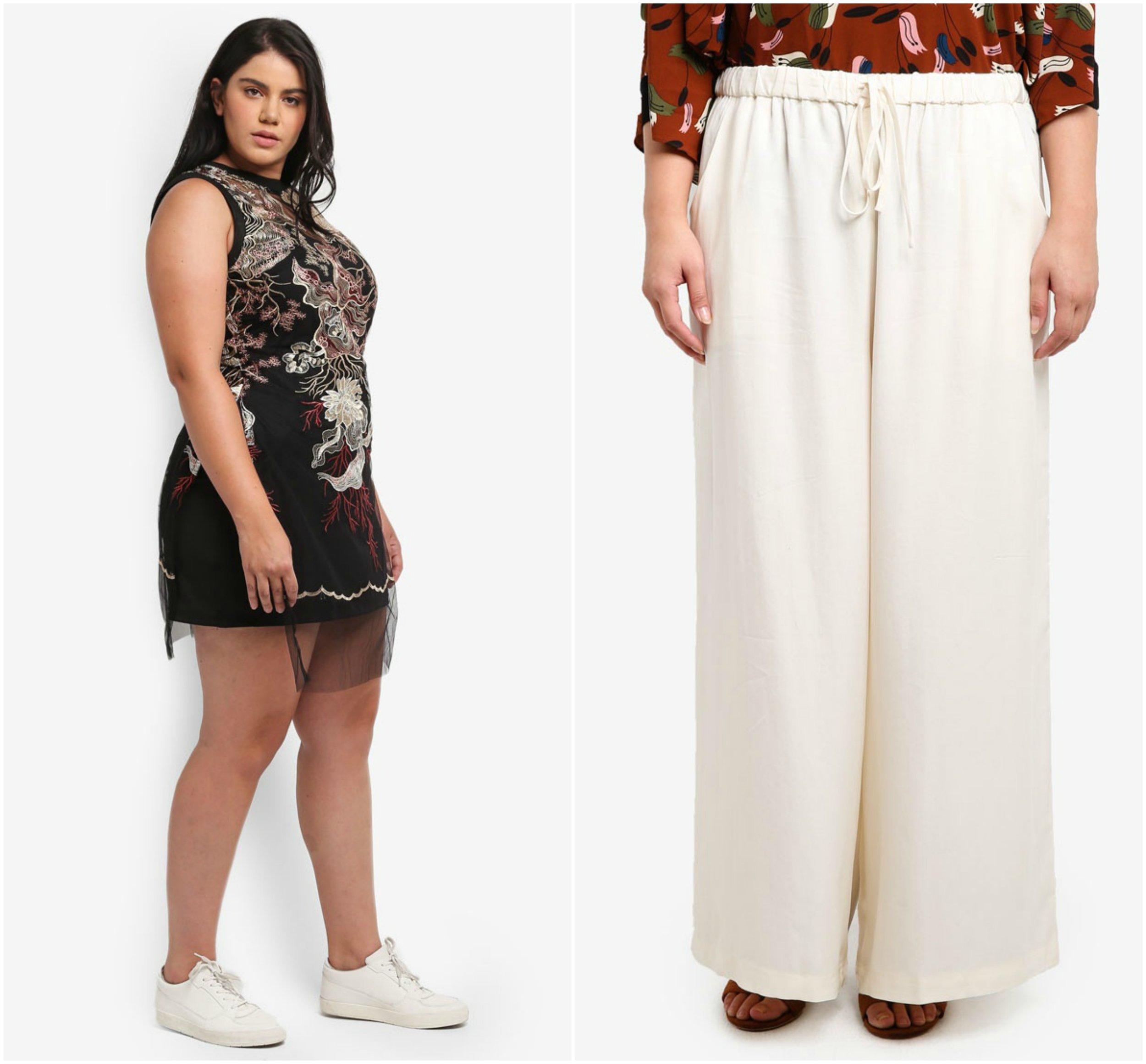 1.  ELVI Plus Size Multi Embroderies Longline  , 2.  Ex'otico Basic Long Trousers